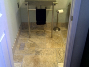 Versaille pattern travertine bathroom floor, Memphis,TN