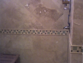 Travertine bathroom wall, Memphis,TN